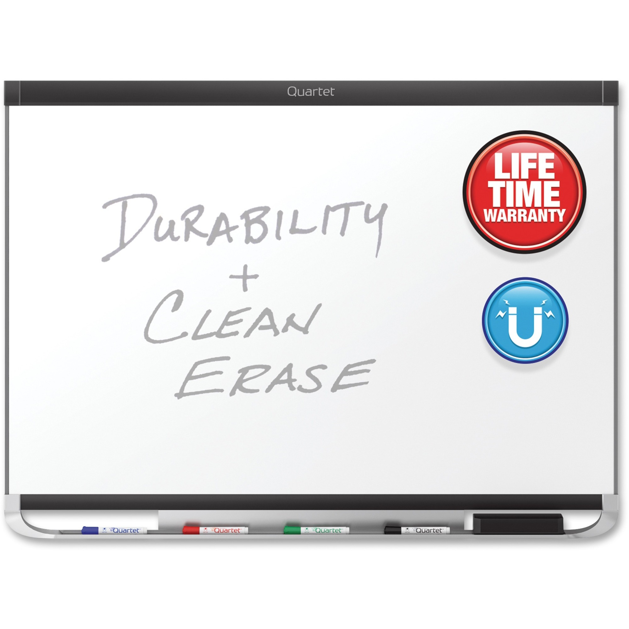 Acco Brands Corporation Quartet® Prestige® 2 Duramax® Porcelain Magnetic Whiteboard, 4 X 3, Black Frame - 48 (4 Ft) Width X 36 (3 Ft) Height - White Porcelain Surface - Black Aluminum Frame - Horizontal - 1 / Each - Taa Compliant