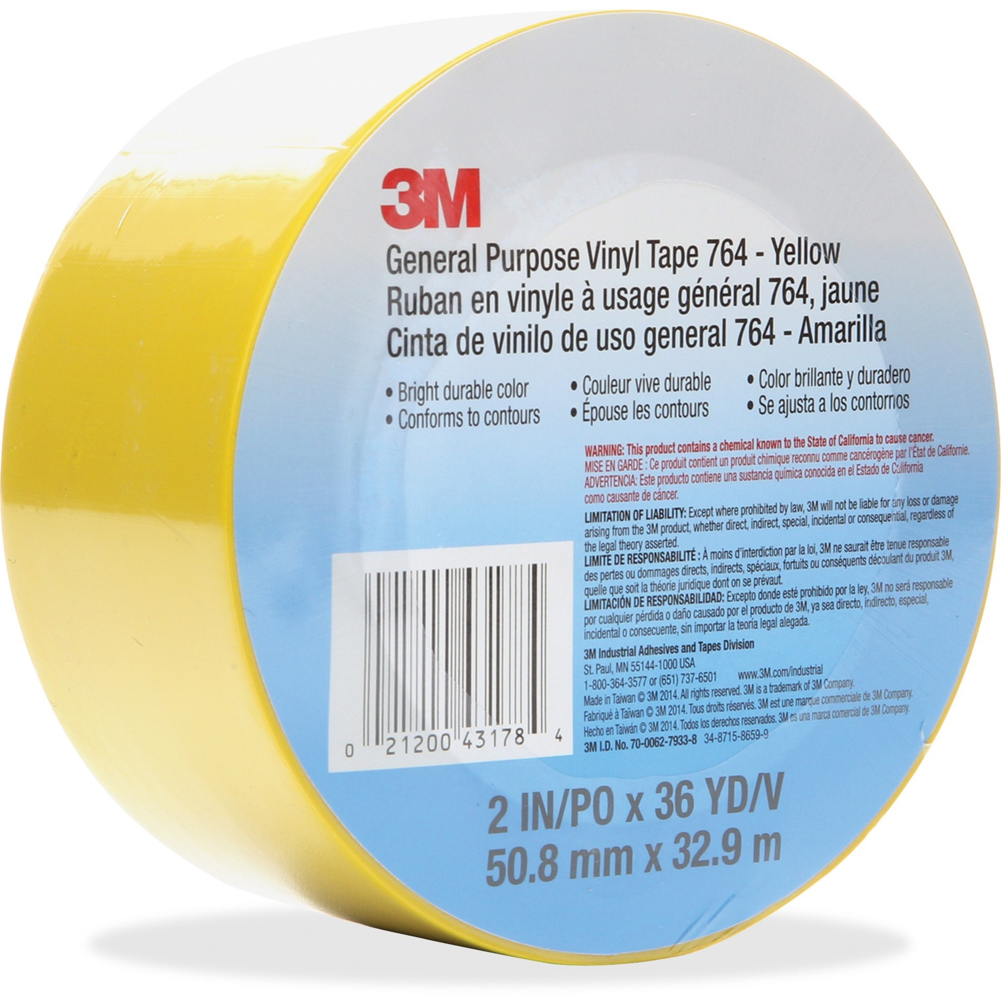 3M General Purpose 764 Vinyl Tape --MMM764-2X36-YLW