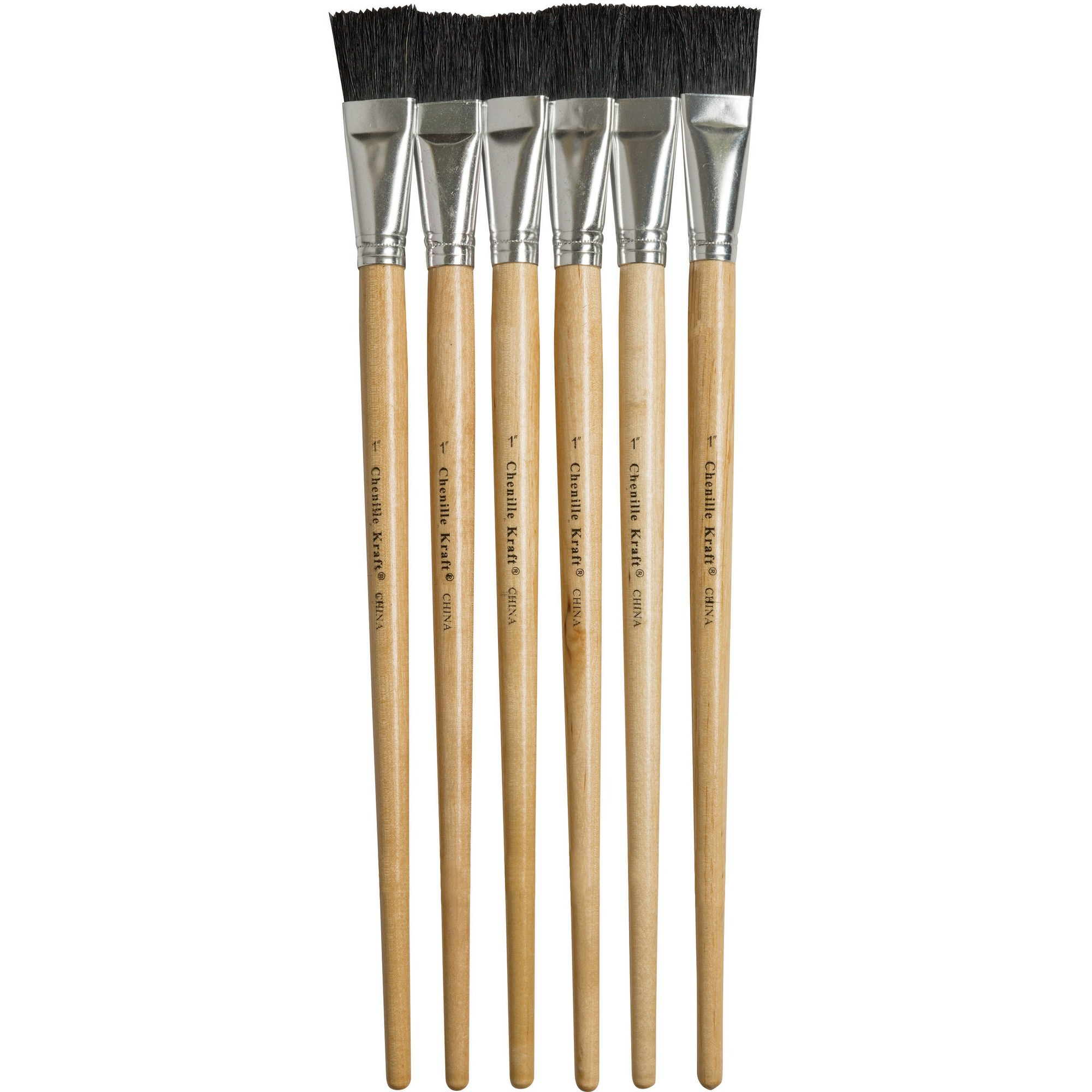 Pacon Corporation Creativity Street 1 Hog Bristle Paint Brushes - 6 Brush(Es) - 1 Bristle Natural Handle - Aluminum Ferrule