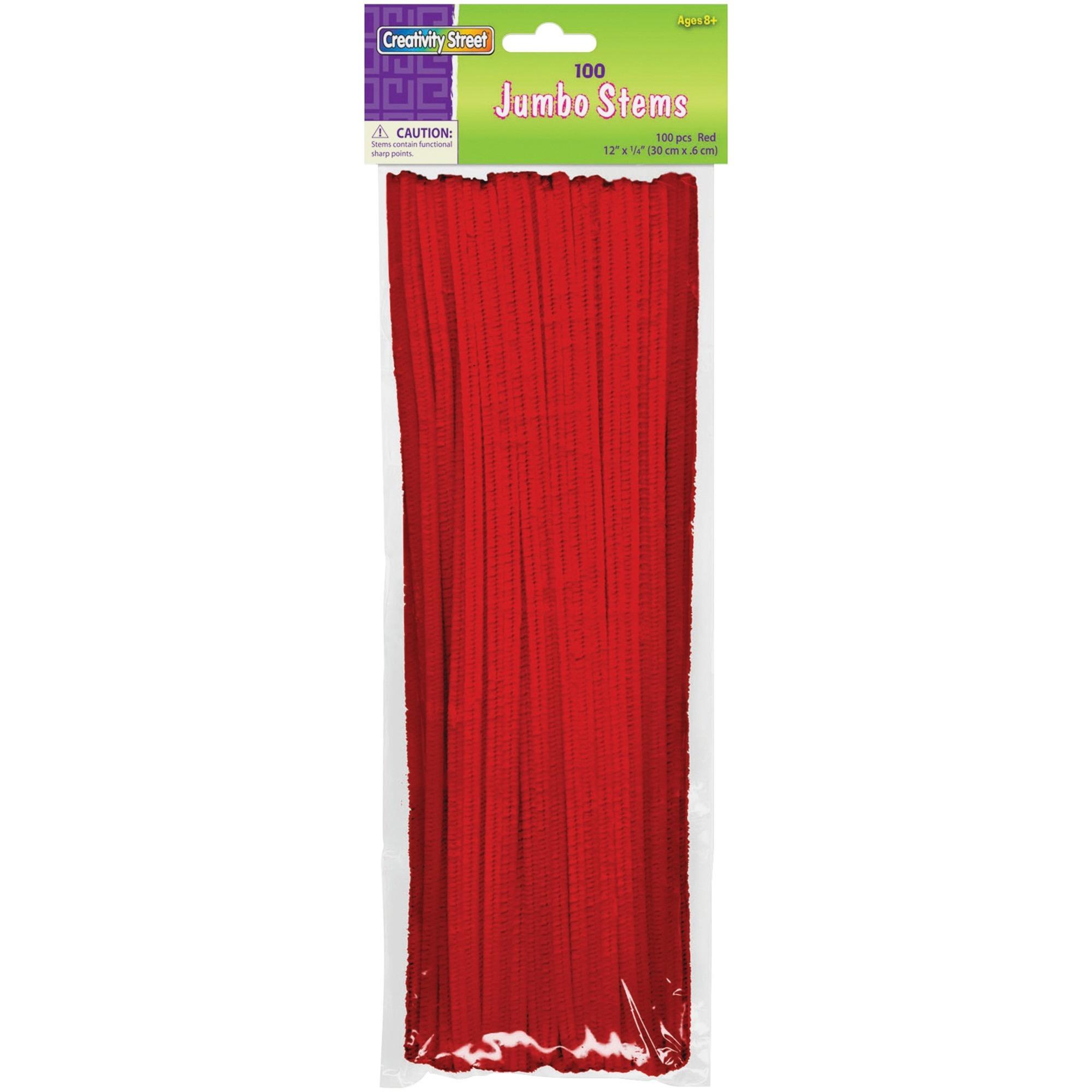 Pacon Corporation Creativity Street Jumbo Bendable Stems - 12 X 0.2 - 600 / Bag - Red