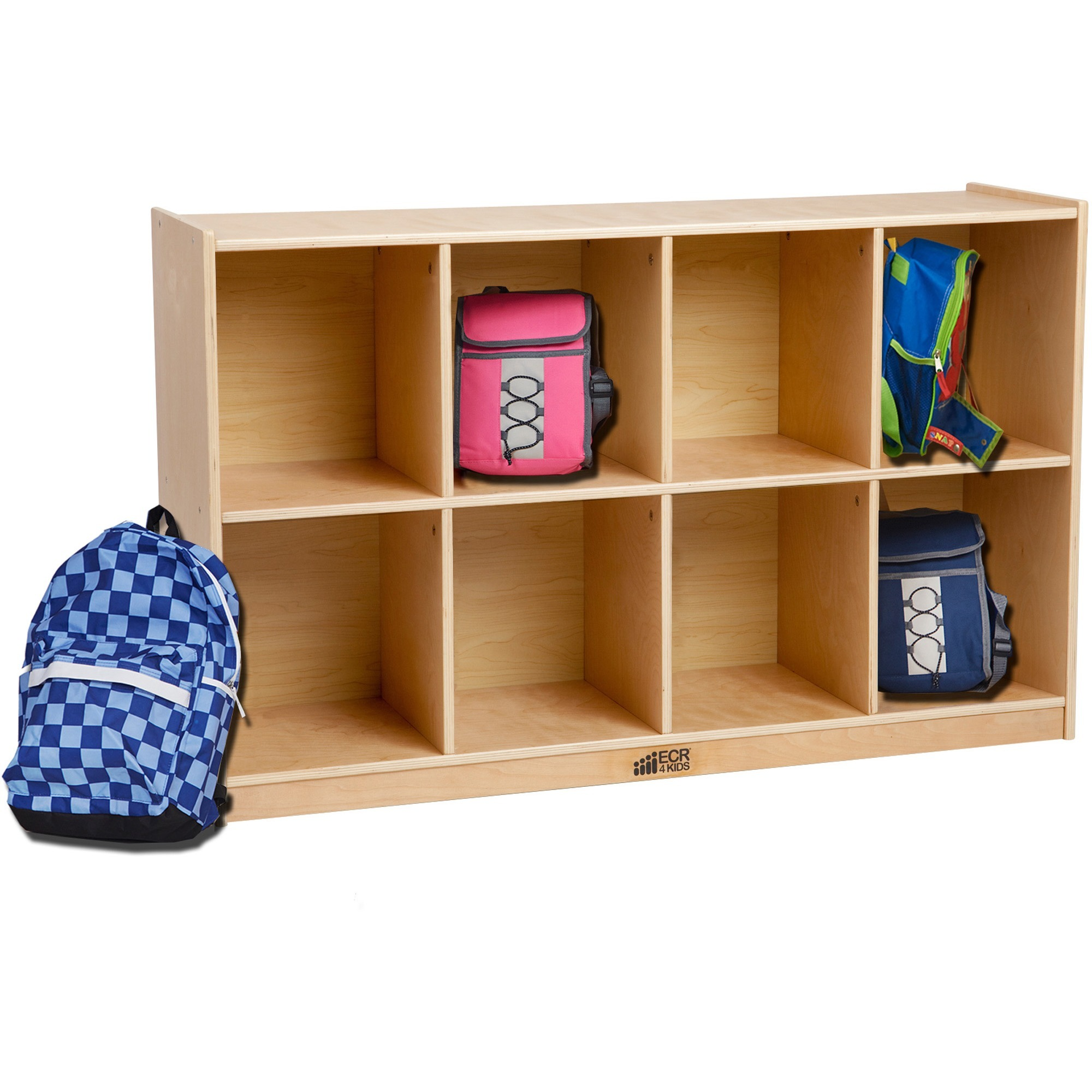 Image for Early Childhood Resources ECR4KIDS Birch 8 Cubby Storage Unit - 8 Compartment(S) - 30 Height X 48 Width X 13 Depth - Floor - Natural - Birch - 1EACH