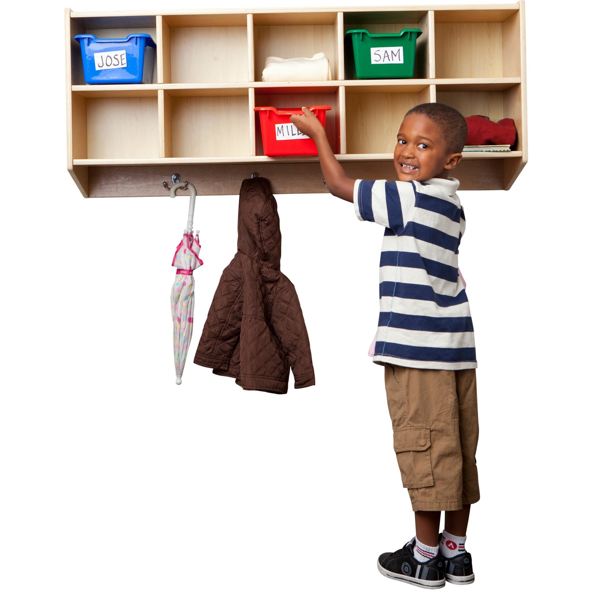 Image for Early Childhood Resources ECR4KIDS Birch 10 Section Coat Locker - 10 Compartment(S) - 20 Height X 48 Width X 13 Depth - Wall Mountable - Birch - 1EACH