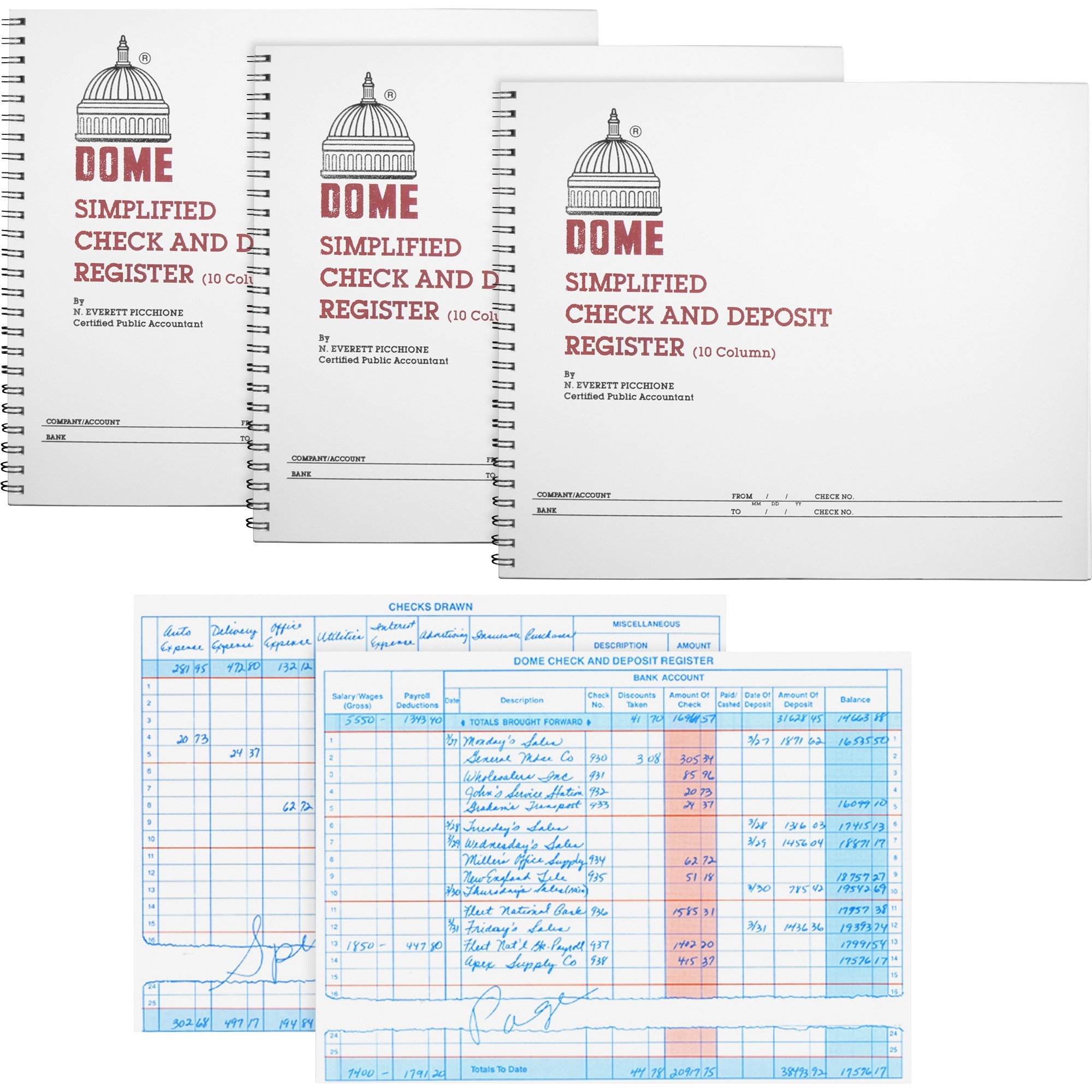 Image for Dome Enterprises Dome Check And Deposit Register - 50 Sheet(S) - Wire Bound - 10 1/4 X 8 1/2 Sheet Size - Gray Cover - Recycled - 3 / Bundle