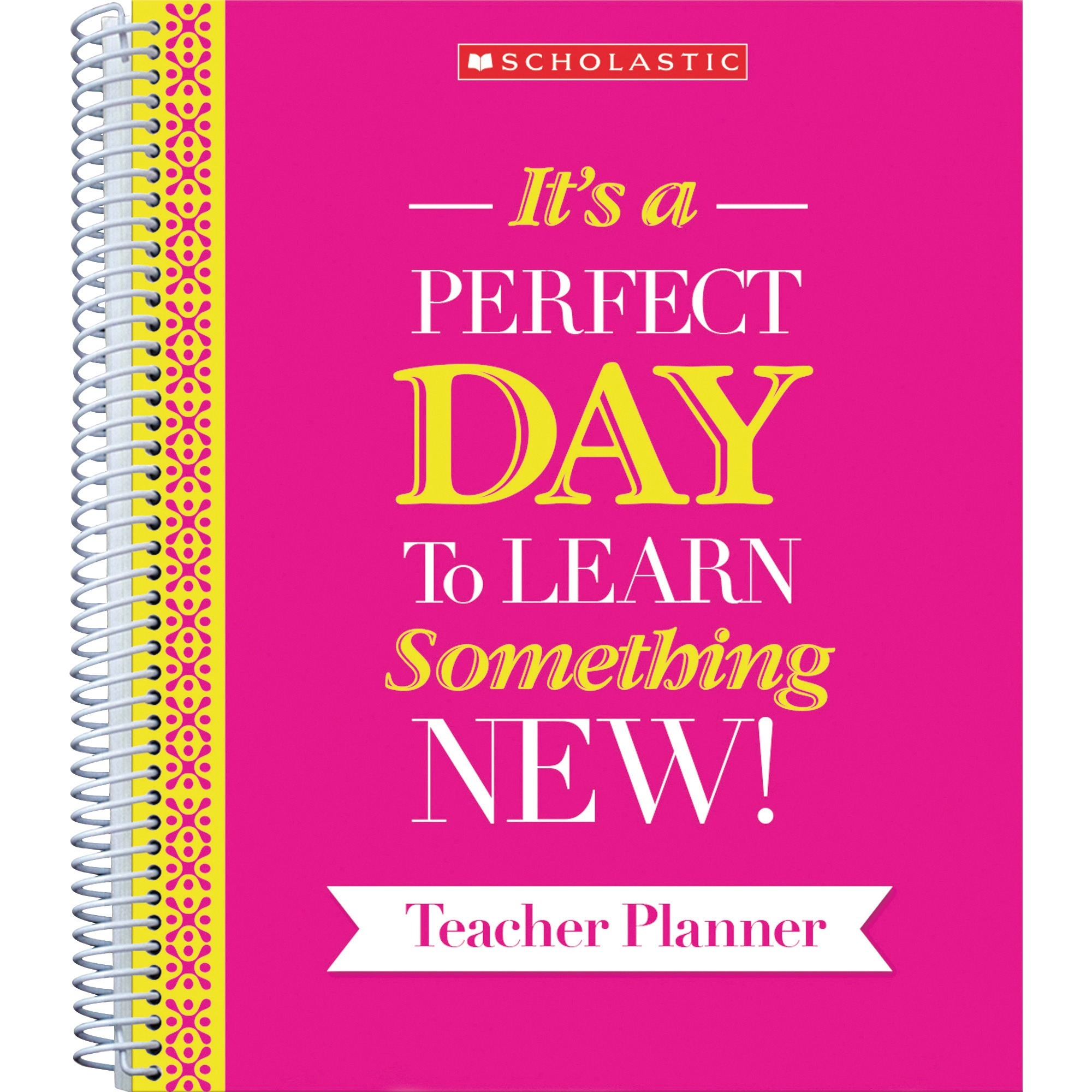 Scholastic Inspirational Teacher Planner - Yes - Monthly, Weekly - 2 Month, 2 Week Double Page Layout - 9 X 11 - Spiral Bound - Multi - Pink