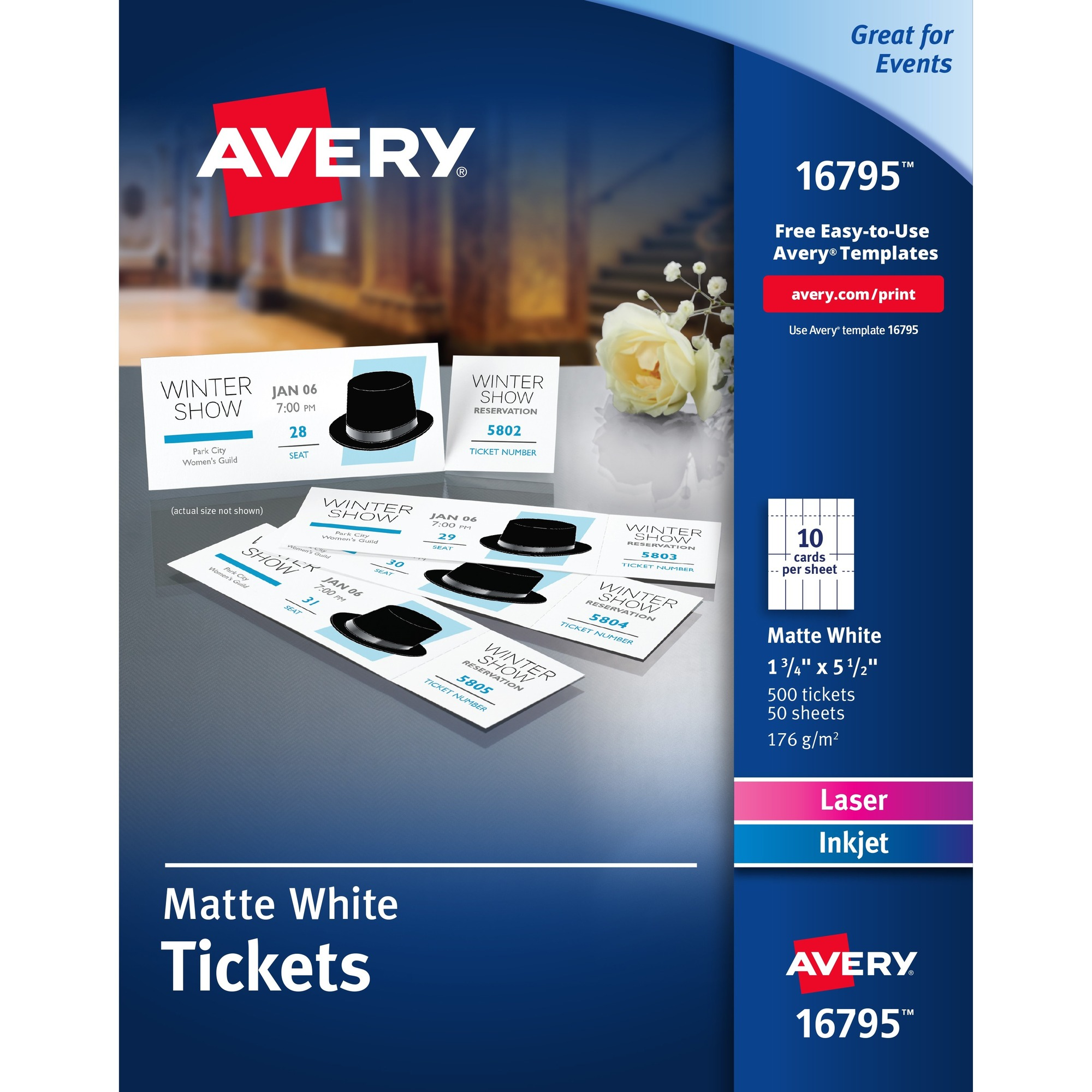 Image for Avery® Tear-away Stubs Matte Printable Tickets - White - 500/pack