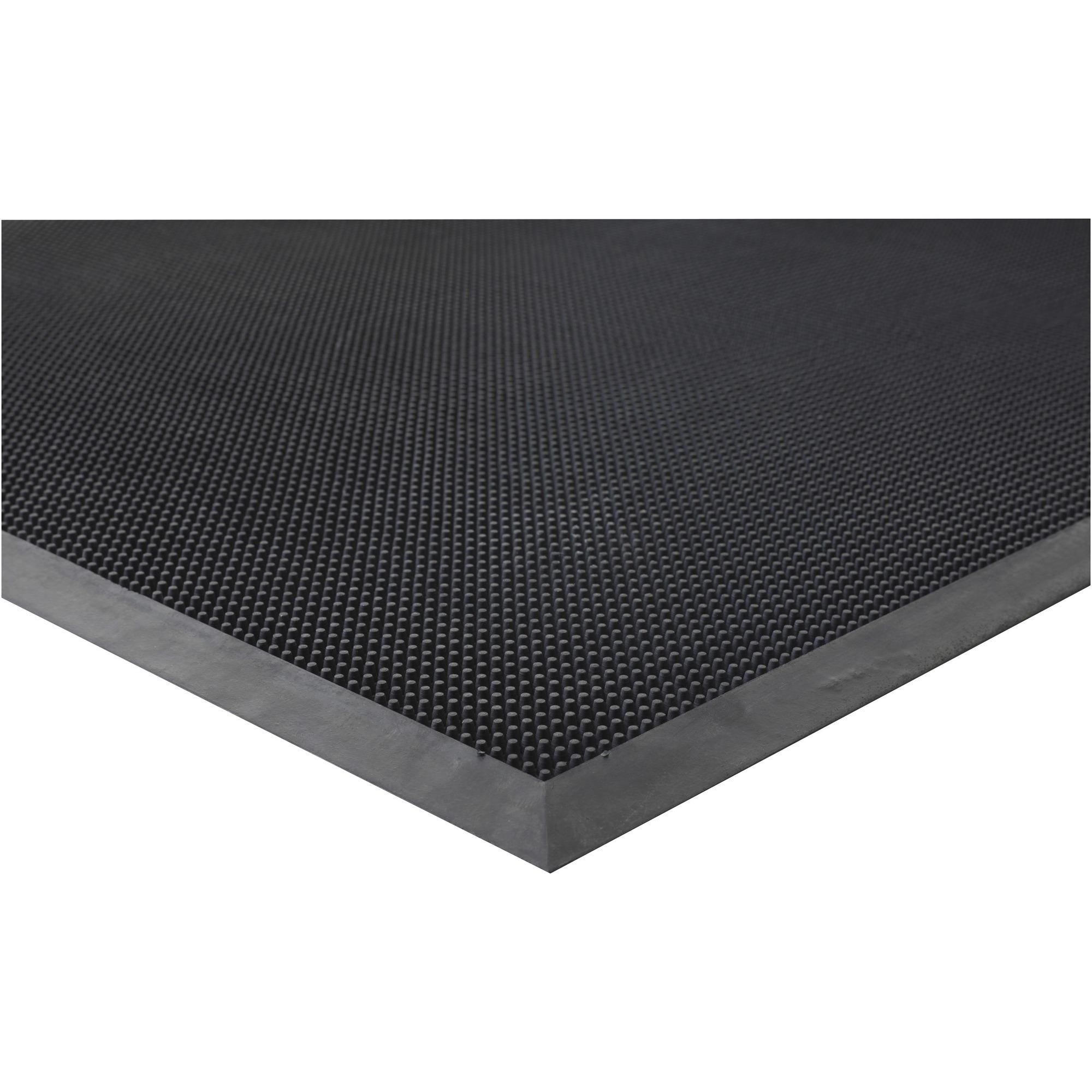 Genuine Joe Brush Tip Scraper Mat - Indoor, Outdoor - 60 Length X 36 Width X 0.40 Thickness - Rectangle - Rubber - Black