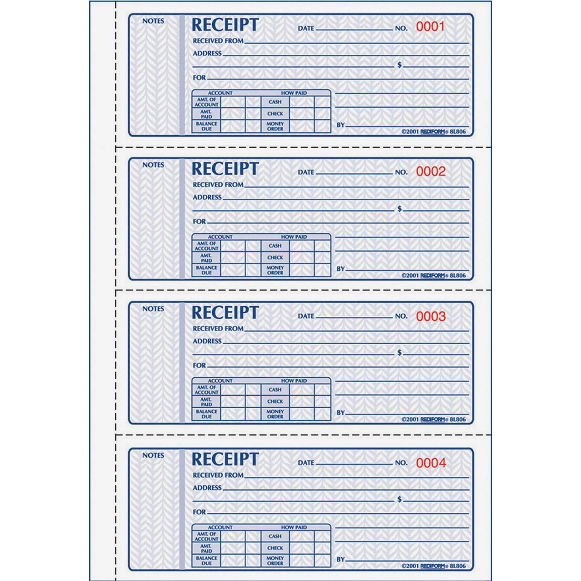 image about Printable Receipt Book named Rediform 3-pt Carbonless Economical Receipt Reserve - 100 Sheet(s) - Ebook Certain - 3 Section - Carbonless Replica - 7 x 2 3/4 Sheet Sizing - Varied Sheet(s) - Pink,