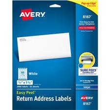 AVE 8167 Avery Easy Peel White Inkjet Mailing Labels AVE8167