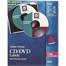 Avery CD/DVD Label - 2/Sheet - Permanent - 30 / Pack - White
