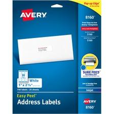 AVE 8160 Avery Easy Peel White Inkjet Mailing Labels AVE8160