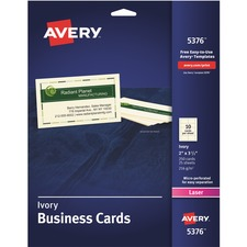 AVE 5376 Avery Laser Print Perforated Business Cards AVE5376
