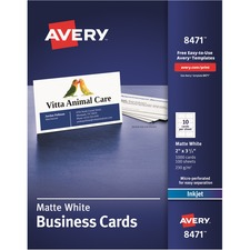 AVE 8471 Avery Standard Two-Side Printable Microperforated Business Cards AVE8471
