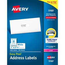 "Avery® Easy Peel® Address Labels with Sure Feed™ Technology - Avery® Easy Peel® Address Labels, Sure Feed™ Technology, 1"" x 2-5/8"", (5160)"