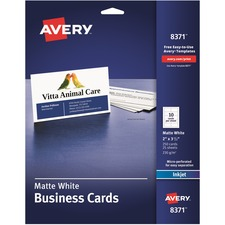 AVE 8371 Avery Standard Two-Side Printable Microperforated Business Cards AVE8371
