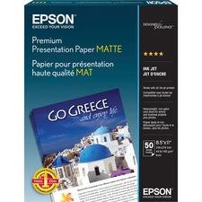 """Epson Matte Heavyweight Inkjet Paper - Letter - 8.5\"""" x 11\"""" - 45lb - Matte - 97 ISO Brightness - 50 / Pack - White"""