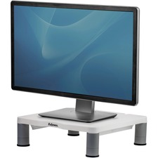 "Fellowes Standard Monitor Riser - Up to 60lb - Up to 17"" Monitor - Platinum, Graphite - Desk-mountable"