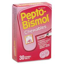 Pepto-Bismol Tablets - For Heartburn, Indigestion, Upset Stomach, Nausea, Diarrhea - Cherry - 30 / Box