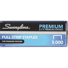 "Swingline S.F.4-5M Premium Standard Staples - 210 Per Strip - Standard - 1/4"" Leg - 1/2"" Crown - Chisel Point - Silver - 5000 / Box"