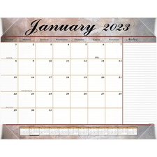 AAG 89702 AT-A-GLANCE Marbled Design Desk Pad Calendar AAG89702