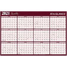 """At-A-Glance Erasable/Reversible Horizontal Yearly Wall Planner - Monthly - 1 Year - January 2020 till December 2020 - 36"""" x 24"""" - Burgundy - Erasable, Laminated, Reversible, Write on/Wipe off"""