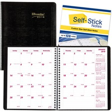 RED CB1200NBLK Brownline PlannerPLUS 14-Month Ruled Monthly Planner REDCB1200NBLK