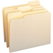 """Smead Top Tab File Folder - Letter - 8.5\"""" x 11\"""" - 1/3 Cut Tab on Assorted Position - 0.75\"""" Expansion - 100 / Box - 11pt. - Manila"""