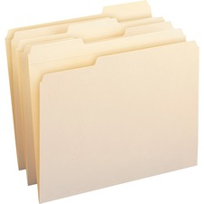 "Smead Top Tab File Folder - Letter - 8.5"" x 11\"" - 1/3 Cut Tab on Assorted Position - 0.75\"" Expansion - 100 / Box - 11pt. - Manila"