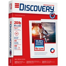 "Discovery Premium Multipurpose Paper - Letter - 8 1/2"" x 11"" - 20 lb Basis Weight - 0% Recycled Content - 97 Brightness - 5000 / Carton - White"