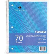 SPR 83250 Sparco Quality Wirebound Wide Ruled Notebooks SPR83250
