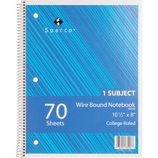 SPR 83253 Sparco Wire Bound College Ruled Notebook SPR83253