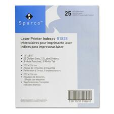 SPR 01828 Sparco Laser Printer Indexing System Dividers SPR01828