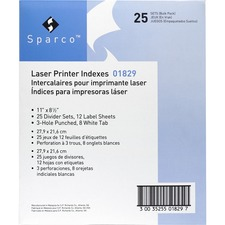 SPR 01829 Sparco Laser Printer Indexing System Dividers SPR01829