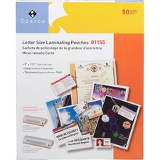 SPR 01155 Sparco 3Mil Letter Size Laminating Pouches SPR01155