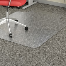"Lorell Low Pile Wide Lip Economy Chairmat - Carpeted Floor - 53"" Length x 45"" Width x 95 mil Thickness - Lip Size 12"" Length x 25"" Width - Vinyl - Clear"