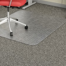 "Lorell Rectangular Low-pile Economy Chairmat - Carpeted Floor - 60"" Length x 46"" Width x 95 mil Thickness - Rectangle - Vinyl - Clear"
