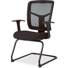 "Lorell ErgoMesh Series Mesh Side Arm Guest Chair - Fabric Black Seat - Mesh Black Back - Cantilever Base - 27"" Width x 27.8"" Depth x 41"" Height"