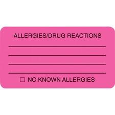 TAB 01730 Tabbies ALLERY/DRUG REACTIONS Alert Labels TAB01730