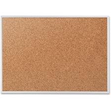 Quartet Aluminium Frame Bulletin Board with Bracket - 3ft x 4ft - Cork Surface - Aluminum Frame - Brown
