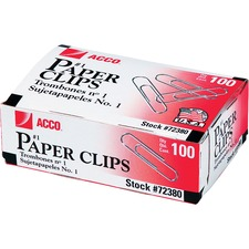 Acco 72380 Paper Clips, Regular, .033 Gauge, 100/BX, 10BX/PK, Silver, ACC72380, ACC 72380