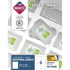 MAC ML0400 Maco White Shipping Labels MACML0400