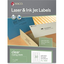 MAC ML4000 Maco Laser Inkjet Printer Clear Mailing Labels MACML4000