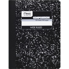 "Mead Square Deal Composition Book - 100 Sheet - Wide Ruled - 7.5"" x 9.75\"" - 1 Each - White"