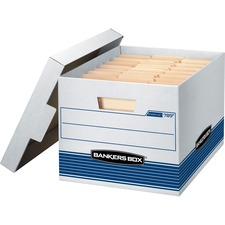 "Fellowes Stor/File™ - Letter/Legal - Internal Dimensions: 12"" Width x 15"" Depth x 10"" Height - External Dimensions: 12.8"" Width x 16.5"" Depth x 10.5"" Height - Media Size Supported: Letter, Legal - Lift-off Closure - Medium Duty - Stackable - White, Blue - For File - Recycled - 12 / Carton"