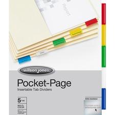 WLJ 53154 Acco/Wilson Jones 5-Tab Pocket Indexes WLJ53154