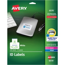 AVE 6570 Avery Laser Inkjet Printer Permanent ID Labels AVE6570