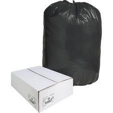 """Nature Saver Black Low-density Recycled Can Liners - Extra Large Size - 60 gal - 38"""" Width x 58"""" Length x 1.25 mil (32 Micron) Thickness - Low Density - Black - Plastic - 100/Carton - Cleaning Supplies"""