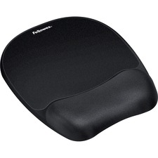 "Fellowes Memory Foam Mouse Pad/Wrist Rest - 1"" x 7.9"" x 9.3"" Dimension - Black - Memory Foam, Jersey Cover - Wear Resistant, Tear Resistant, Skid Proof"