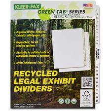 KLF 81170 Kleer-Fax Legal Exhibit Index Dividers KLF81170