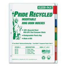 KLF 11908 Kleer-Fax Pride Series 8-Tab Insertable Indexes KLF11908