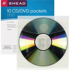 SMD 68144 Smead Security Flap Self-Adhsv Poly CD/DVD Pockets SMD68144